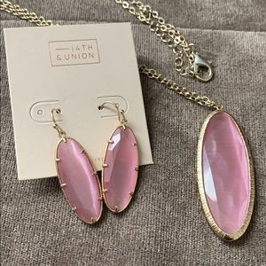 PD🎉Oval Stone Necklace/Earring set